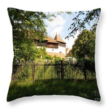 Romanian Fortified Church Throw Pillow by Ramona Matei