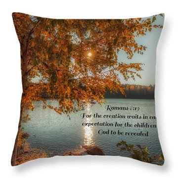 Throw Pillow featuring the photograph Romans 8 Verse 19 by Rose-Maries Pictures