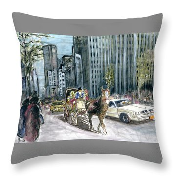 New York 5th Avenue Ride - Fine Art Painting Throw Pillow