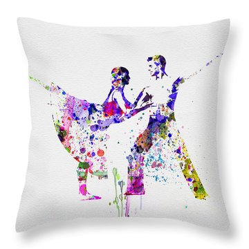 Romantic Ballet Watercolor 2 Throw Pillow