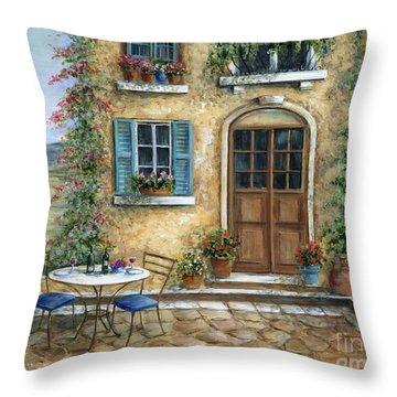 Romantic Courtyard Throw Pillow