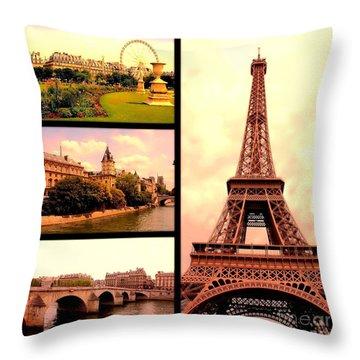 Romantic Paris Sunset Collage Throw Pillow by Carol Groenen