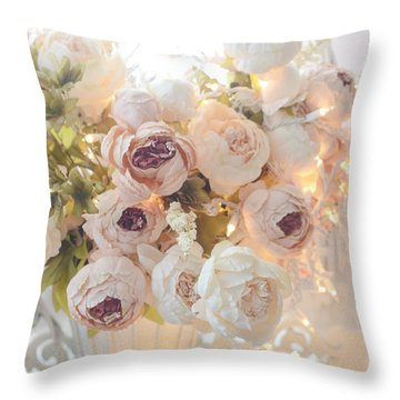 Romantic Shabby Chic Dreamy Pink And White Peonies - Shabby Chic Peonies In Basket Throw Pillow