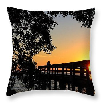 Throw Pillow featuring the photograph Romantic Sunset by Pamela Blizzard