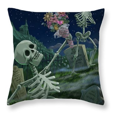 Romantic Valentine Skeletons In Graveyard Throw Pillow