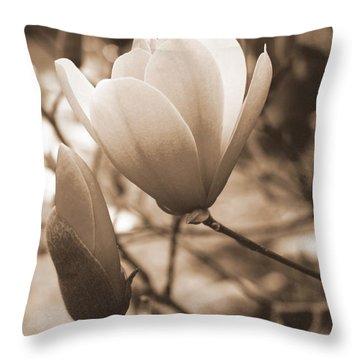 Romantic Vintage Magnolia Throw Pillow by Kay Novy