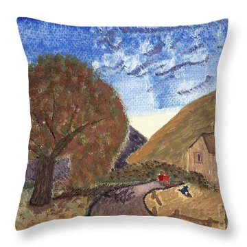 Throw Pillow featuring the painting Romantic Walk by Tracey Williams