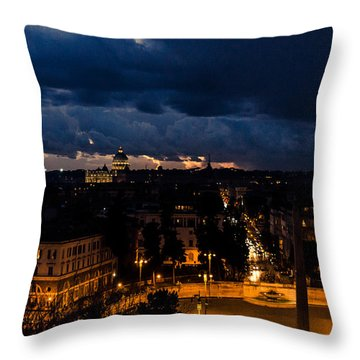 Rome Cityscape At Night  Throw Pillow