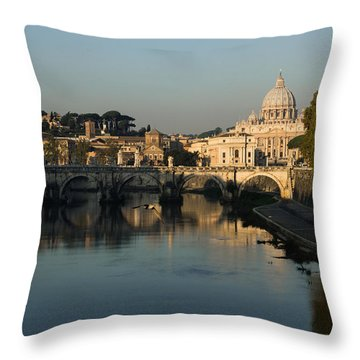 Rome - Iconic View Of Saint Peter's Basilica Reflecting In Tiber River Throw Pillow