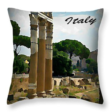 Rome Italy Poster Throw Pillow by John Malone