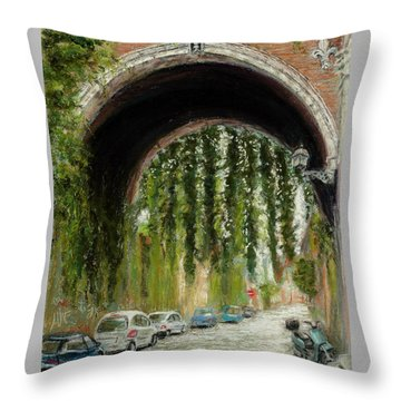 Rome Street Scene Throw Pillow by Mary Benke