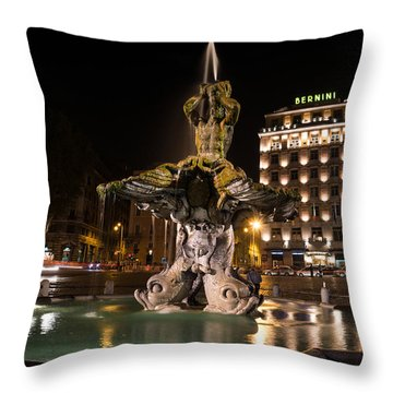 Rome's Fabulous Fountains - Bernini's Fontana Del Tritone Throw Pillow