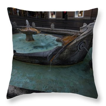 Rome's Fabulous Fountains - Fontana Della Barcaccia At The Spanish Steps  Throw Pillow