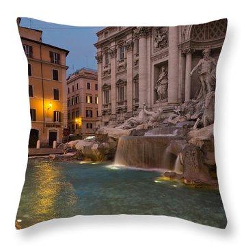 Rome's Fabulous Fountains - Trevi Fountain At Dawn Throw Pillow