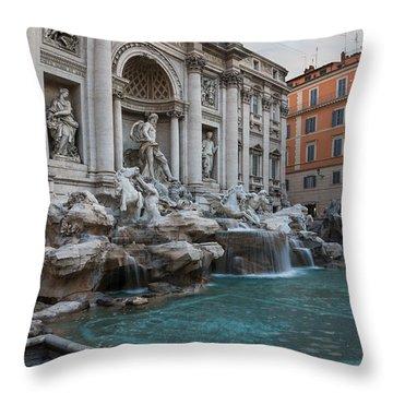 Rome's Fabulous Fountains - Trevi Fountain No Tourists Throw Pillow