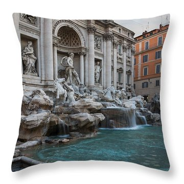Rome's Fabulous Fountains - Trevi Fountain - No Tourists Throw Pillow by Georgia Mizuleva
