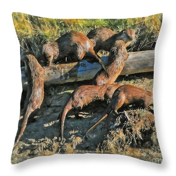 Throw Pillow featuring the photograph Romp Of Otters by Clare VanderVeen