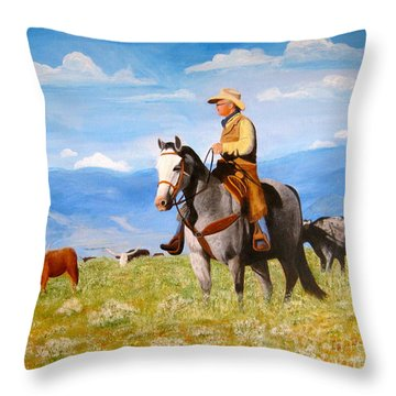 Ron And  Cash At Work Throw Pillow