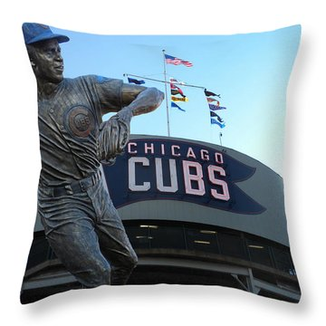 Ron Santo Chicago Cubs Statue Throw Pillow by Thomas Woolworth
