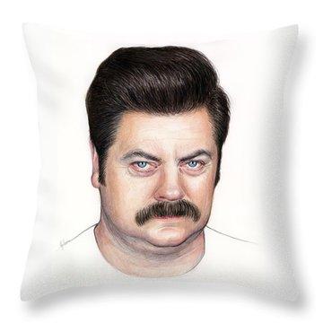 Ron Swanson Portrait Nick Offerman Throw Pillow