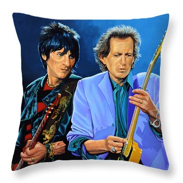 Ron Wood And Keith Richards Throw Pillow by Paul Meijering