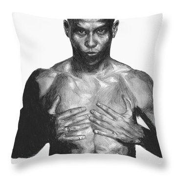 Throw Pillow featuring the drawing Ronaldo by Tamir Barkan