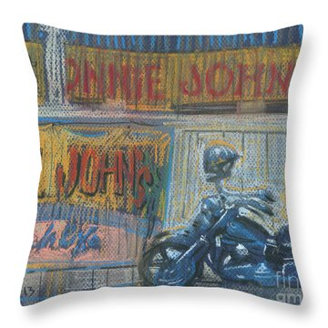 Throw Pillow featuring the painting Ronnie's Bike by Donald Maier