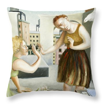 Rooftop Annunciation One Throw Pillow by Caroline Jennings