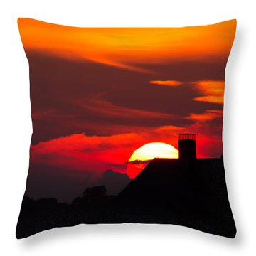 Rooftop Sunset Silhouette Throw Pillow