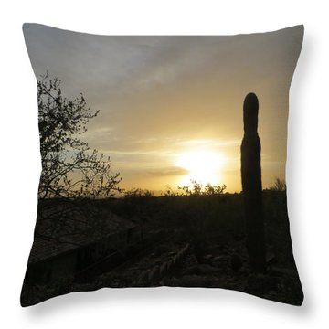 Rooftops At Desert Sunset Throw Pillow