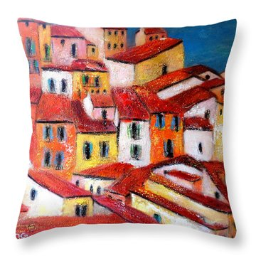 Rooftops Collioure Throw Pillow