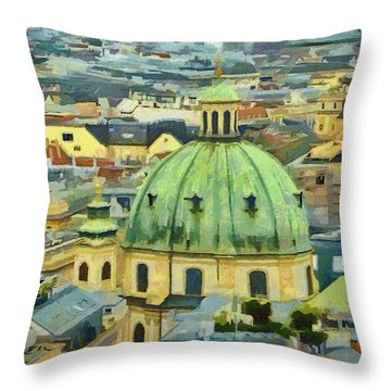 Rooftops Of Vienna Throw Pillow by Jeffrey Kolker