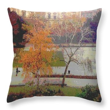 Room With A View Zagreb Throw Pillow by Ann Johndro-Collins