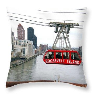Roosevelt Island Tram Throw Pillow by Ed Weidman