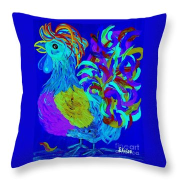 Rooster Blues Throw Pillow by Eloise Schneider
