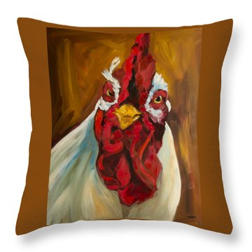 Rooster Face Throw Pillow