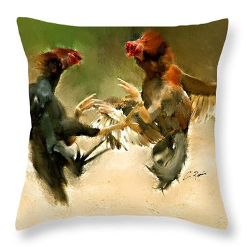 Rooster Fight Hd Throw Pillow