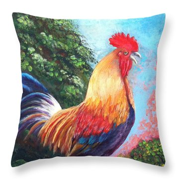 Rooster For Elaine Throw Pillow