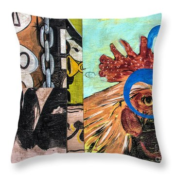 Rooster Graffiti Throw Pillow