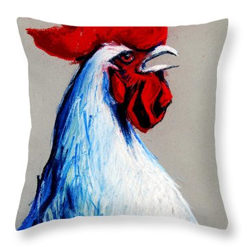 Rooster Head Throw Pillow by Mona Edulesco