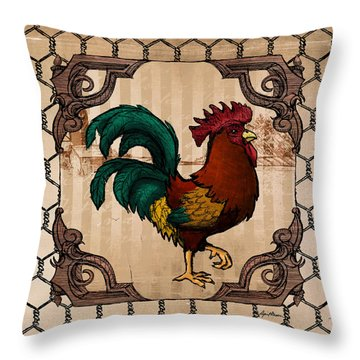 Rooster I Throw Pillow by April Moen