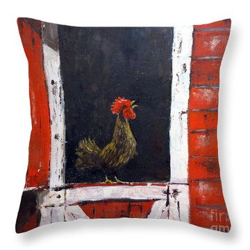 Rooster In Window Throw Pillow by Lee Piper