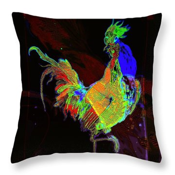 Rooster Throw Pillow by Mimulux patricia no No