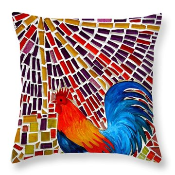 Rooster Mosaic Throw Pillow by Caroline Street