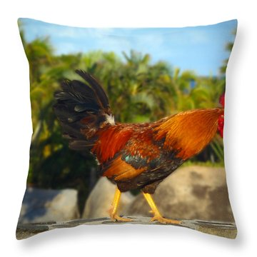 Caribbean Rooster Throw Pillow