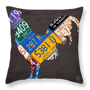 Rooster Recycled License Plate Art On Gray Wood Throw Pillow