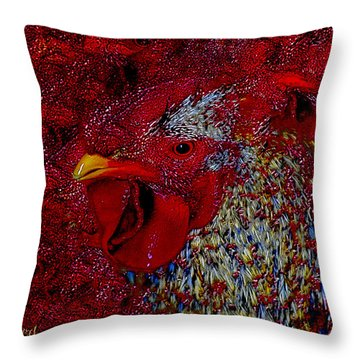 Rooster Red Throw Pillow
