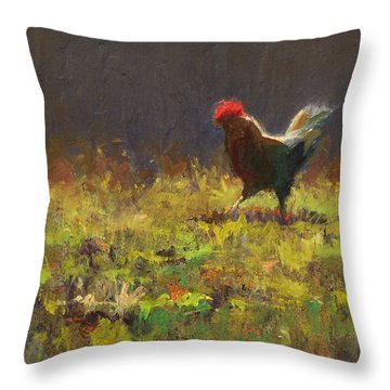 Rooster Strut - Impressionistic Chicken Landscape - Abstract Farm Art - Chicken Art - Farm Decor Throw Pillow