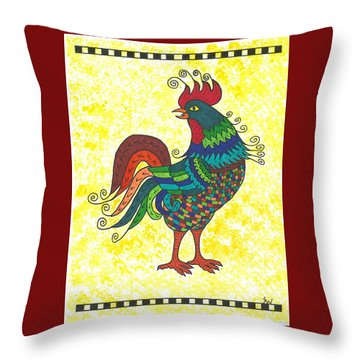 Throw Pillow featuring the painting Rooster Strutting His Stuff by Susie Weber