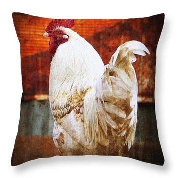Rooster With An Attitude Throw Pillow